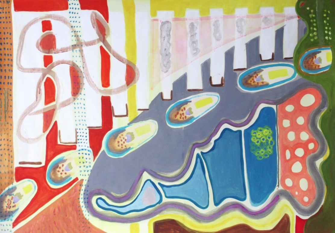 """Abstract painting """"Footsteps"""". Gouache on paper. 100 x 70 cm"""