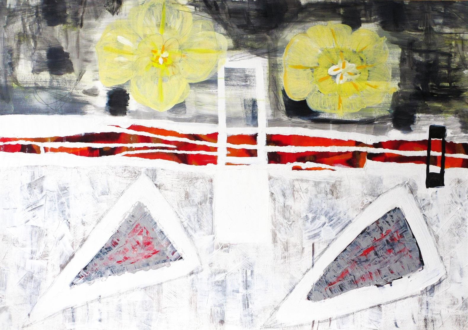 "Abstract painting ""Iceflowers"". Artist Marina de Wit. Acrylic and Gouache on paper. 100 x 70 cm. 2013"