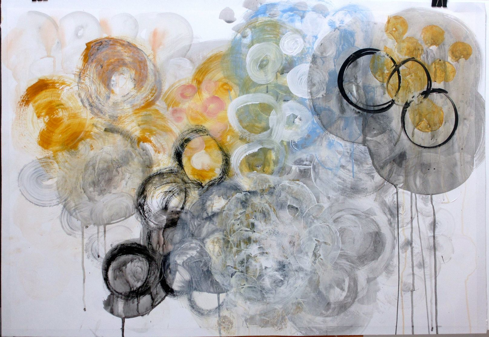 """Abstract painting """"Raindrops I"""". Artist Marina de Wit. Acrylic and gouache on paper. 100 x 70 cm. 2013"""
