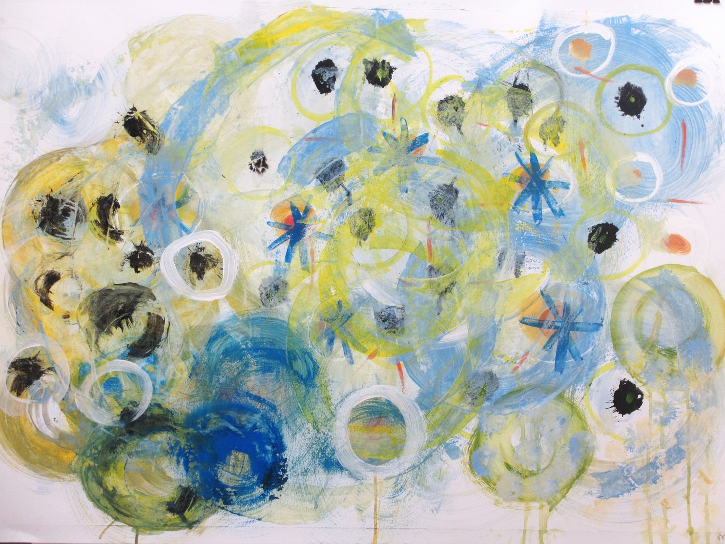"""Abstract painting """"Raindrops II"""". Artist Marina de Wit. Acrylic and gouache on paper. 100 x 70 cm. 2013"""