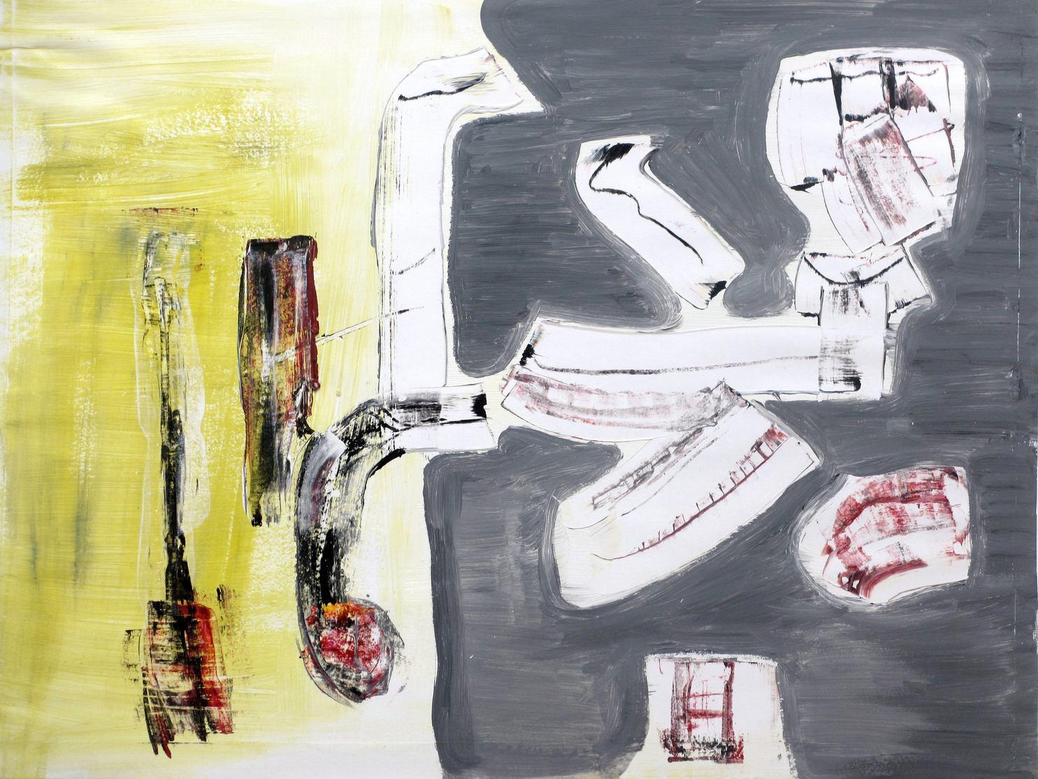 """Strange machine"". Gouache, acrylic and gesso on paper. 65 x 50 cm. 2012"