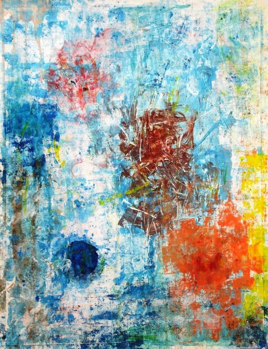"""blue, orange, brown, yellow"". Acrylic on paper. 50 x 65 cm. 2013"