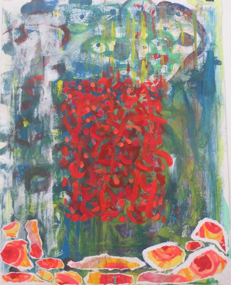 """Messyheart"". Collage, acrylic, gouache on paper. 65 x 50 cm. 2014"