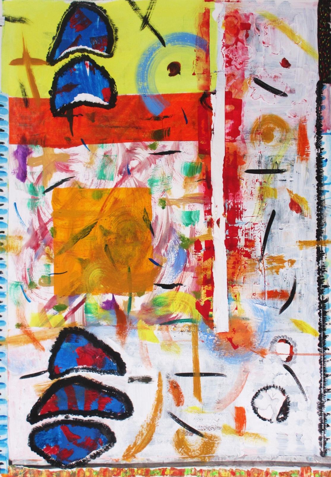 """Orange & yellow"". Collage on paper. 70x 100 cm. 2014"
