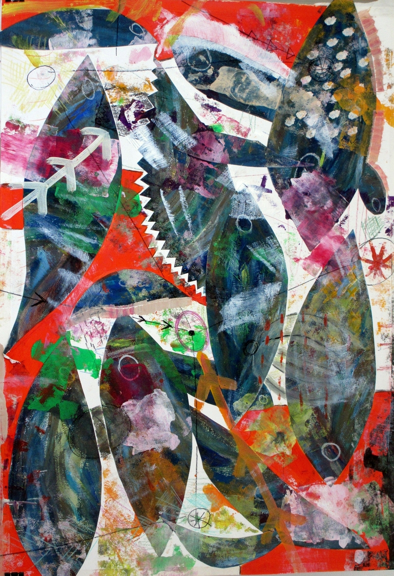 """""""Fish"""". Collage on paper. 70 x 100 cm. 2014"""