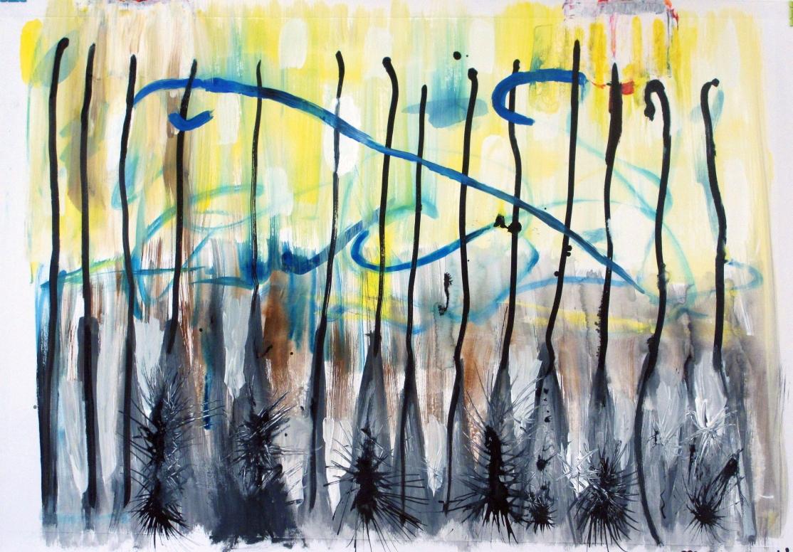 """""""Hidden flowers"""". Gouache, ink on paper. 100 x 70 cm. 2014"""